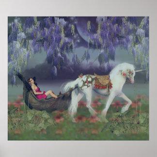 En mis sueños, hada y unicornio de la fantasía posters
