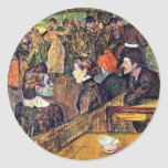 """En Moulin De La Galette """", por Toulouse-Lautrec Pegatina Redonda"""