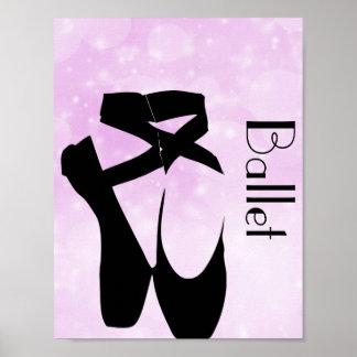 En negro Pointe de los zapatos de ballet Póster