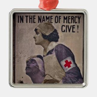 En nombre de misericordia dé adorno cuadrado plateado