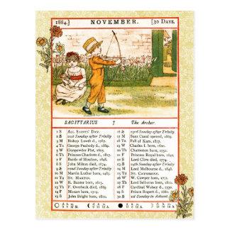En noviembre de 1884 almanaque Sagitario Archer Postal
