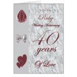 En nuestro aniversario de boda de rubíes tarjeta de felicitación