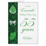 En nuestro aniversario de boda esmeralda tarjeta de felicitación