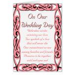En nuestro día de boda: Extremo sobre extremo Felicitacion