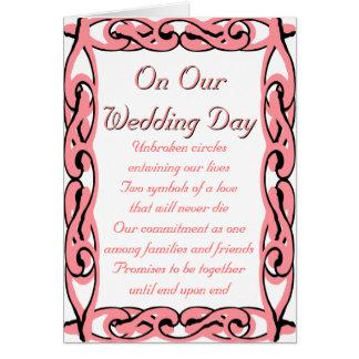 En nuestro día de boda: Extremo sobre extremo Tarjeta De Felicitación