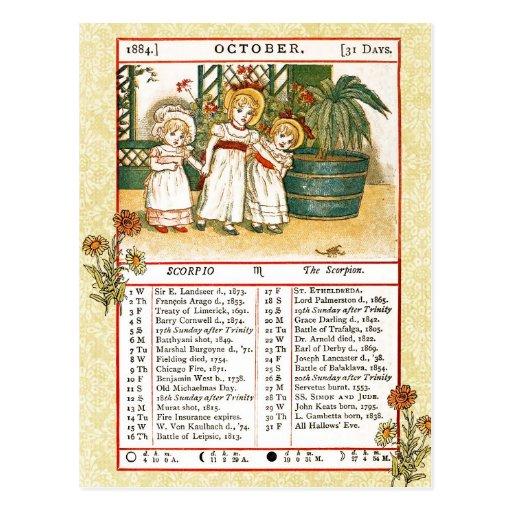 En octubre de 1884 almanaque.  Escorpión, el Postal