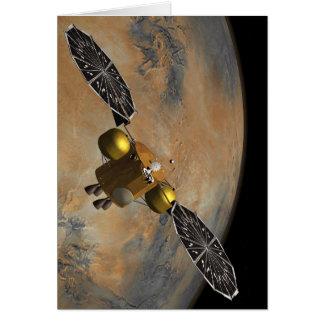 En órbita marciana en arte tarjeta de felicitación