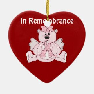 En oso del rosa de la conciencia del cáncer de adorno navideño de cerámica en forma de corazón