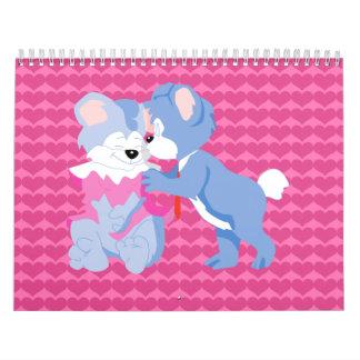 En osos del amor con el fondo rosado de los corazo calendario de pared