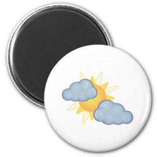 en parte nublado imán redondo 5 cm