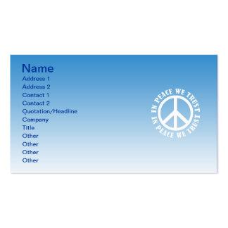 En paz confiamos en plantillas de tarjetas de visita