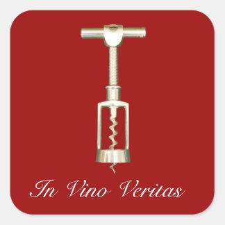 En pegatinas del sacacorchos de Veritas del vino Calcomania Cuadradas Personalizadas
