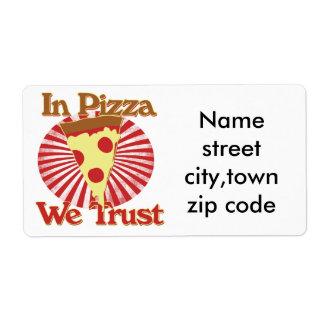 En pizza confiamos en etiquetas de envío