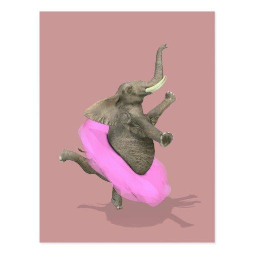 En Pointe del elefante del ballet Tarjeta Postal