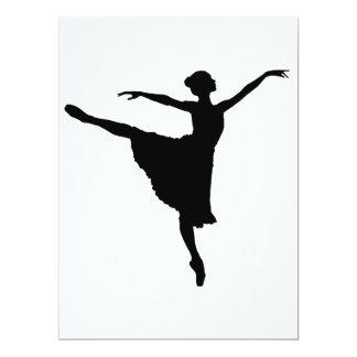 """En Pointe (silueta) del bailarín de ballet ~.p de Invitación 6.5"""" X 8.75"""""""