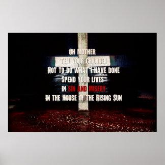 """En poster del """"sol naciente"""" del pecado y de la"""