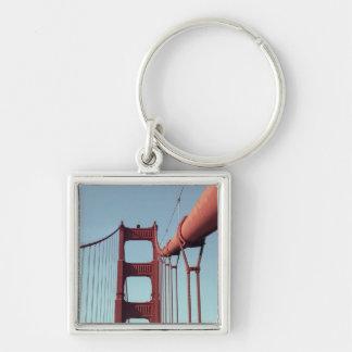 En puente Golden Gate Llavero Cuadrado Plateado