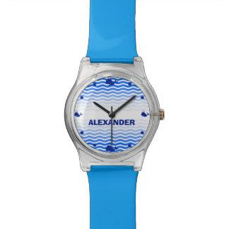 En punto personalizado de la ballena azul de la relojes de pulsera