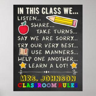 En reglas de esta sala de clase de la clase póster