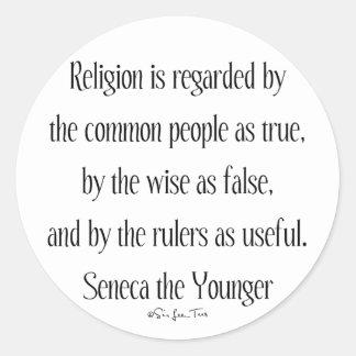 En relación con la religión etiqueta redonda