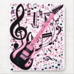 En rosa, roca y Roll_ Alfombrillas De Raton