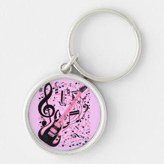 En rosa, roca y Roll_ Llavero Personalizado