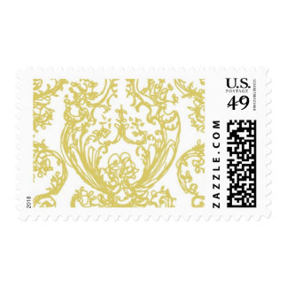 En Route Gold Damask by Ceci New York Postage Stamps
