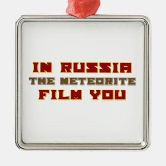 En Rusia la película del meteorito usted Adorno Navideño Cuadrado De Metal