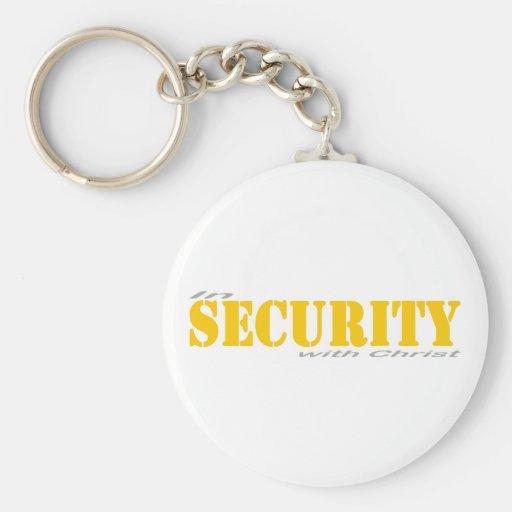 En security with Cristo 2 Gris Amarillo Llavero Personalizado