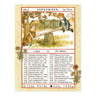 En septiembre de 1884 almanaque.  Libra, el equili Postales