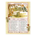 En septiembre de 1884 almanaque.  Libra, el Tarjeta Postal