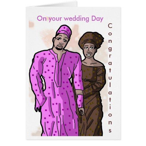 En su día de boda, enhorabuena tarjeta de felicitación
