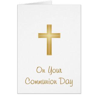 En su día de la comunión tarjeta de felicitación