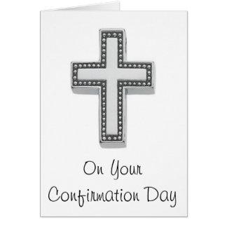 En su día de la confirmación tarjeta de felicitación
