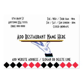 En sus tarjetas de visita de restaurante del servi