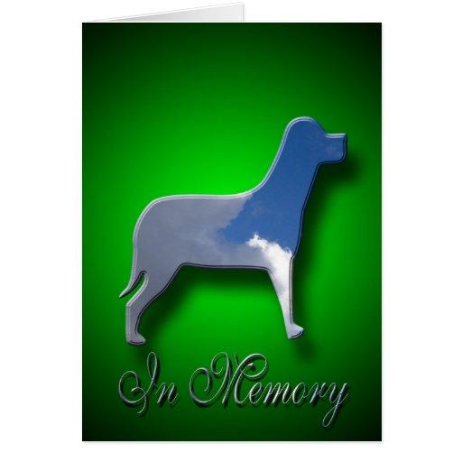 En tarjeta de condolencia del perro de la memoria
