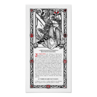 En tarjeta lateral del altar de Principio Poster