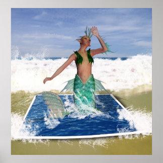 En tierra lavada - sirena del arte de la fantasía  póster