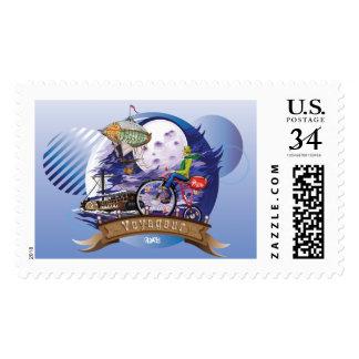 En todo el mundo ejemplo colorido del poster sello postal