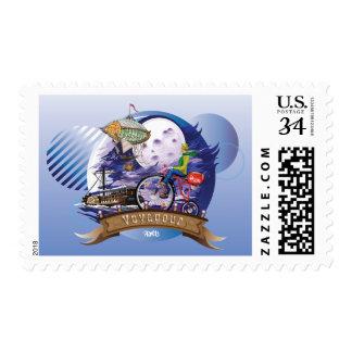 En todo el mundo ejemplo colorido del poster sellos postales