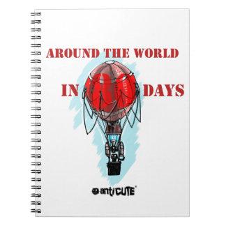 en todo el mundo en balón de aire de ochenta días libretas espirales