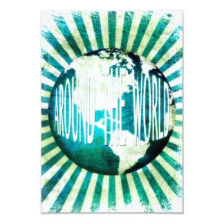 """en todo el mundo: explosión del globo invitación 3.5"""" x 5"""""""