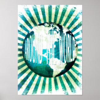 en todo el mundo: explosión del globo póster