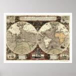 En todo el mundo mapa de Drake - 1595 Póster