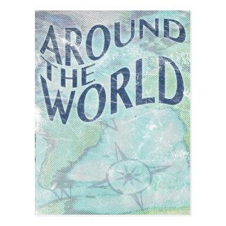 en todo el mundo: página del pasaporte tarjeta postal