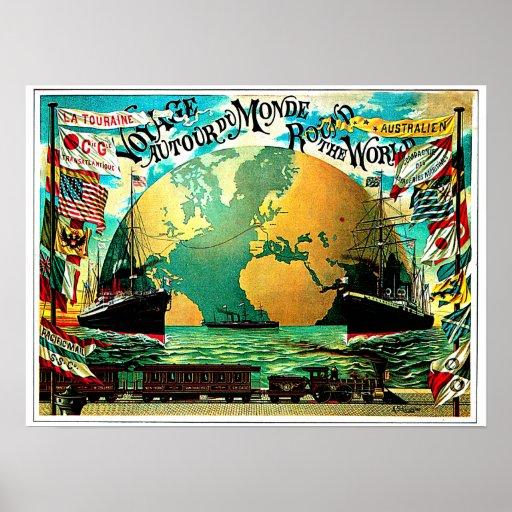 En todo el mundo viaje del vintage del viaje poster