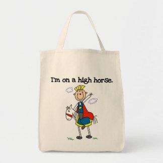 En un alto caballo bolsa tela para la compra