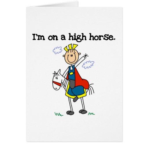 En un alto caballo tarjeta de felicitación
