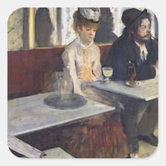 En un café, o el ajenjo, c.1875-76 pegatina cuadrada