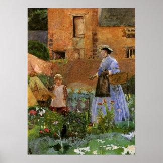 En un jardín en Cookham, Pinwell, familia del Póster